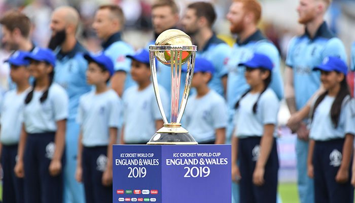 The winner´s trophy is pictured before the start of the 2019 Cricket World Cup second semi-final between England and Australia at Edgbaston in Birmingham. Photo: AFP