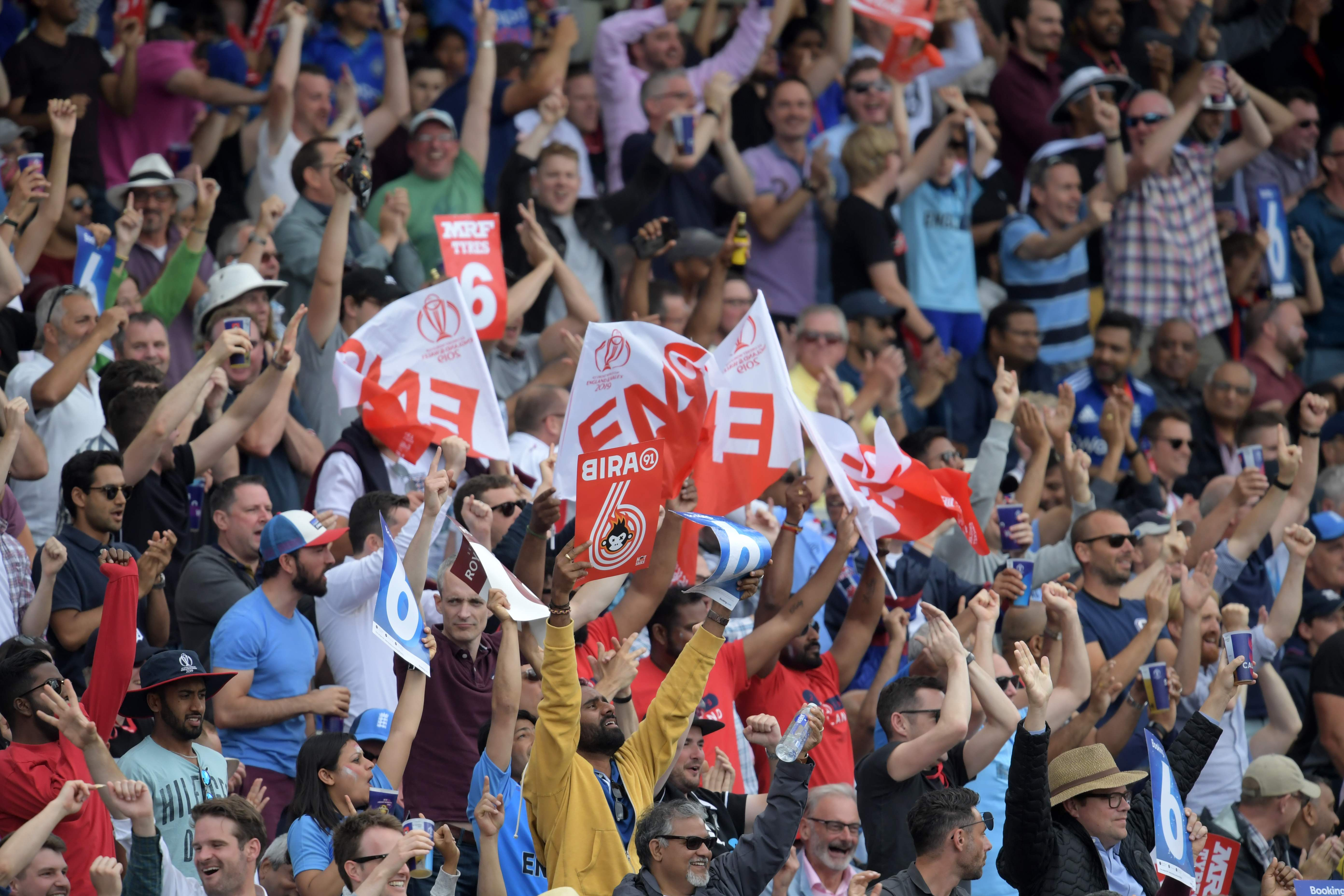 Spectators cheer during the 2019 Cricket World Cup second semi-final between England and Australia. Photo: AFP