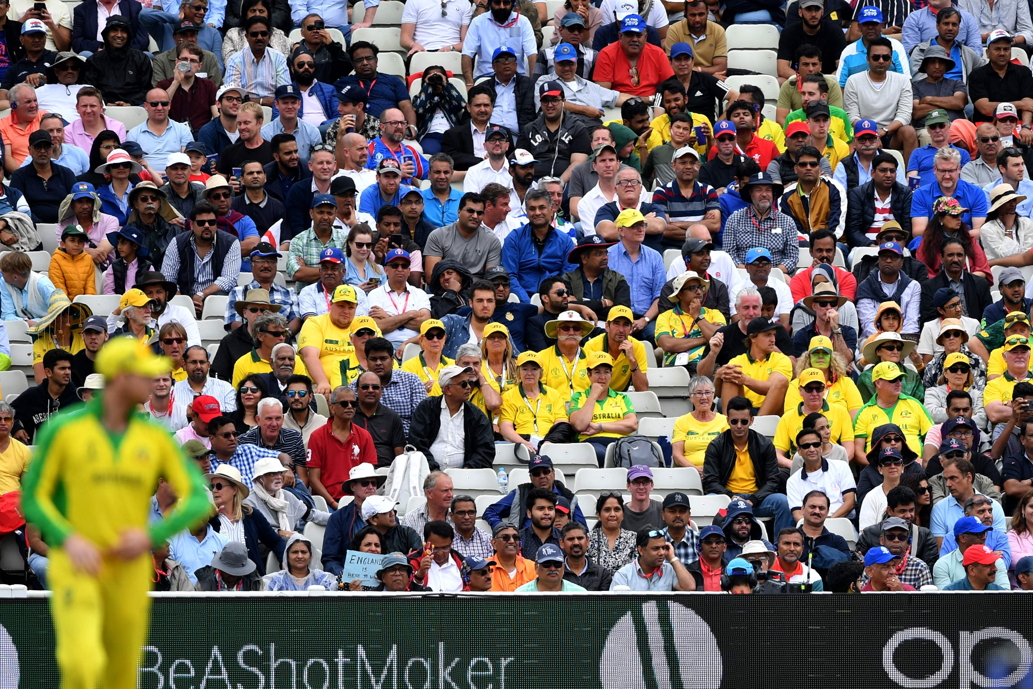 Australian fans look on during the 2019 Cricket World Cup second semi-final. Photo: AFP