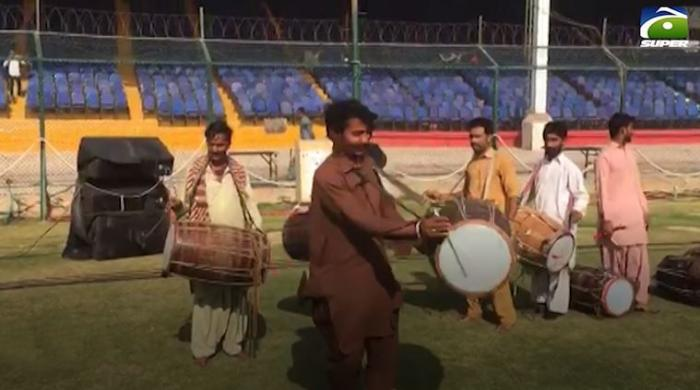 PSL 5: Watch glut of dhol players practice at NSK ahead of opening ceremony