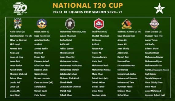 National T20 Cup 6 associations ki teemon ka elaan